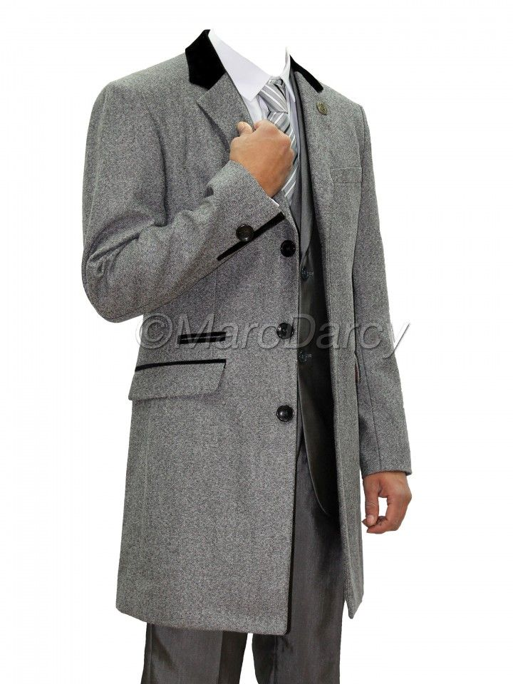 Mens Light Grey Designer Herringbone Tweed Winter Overcoat