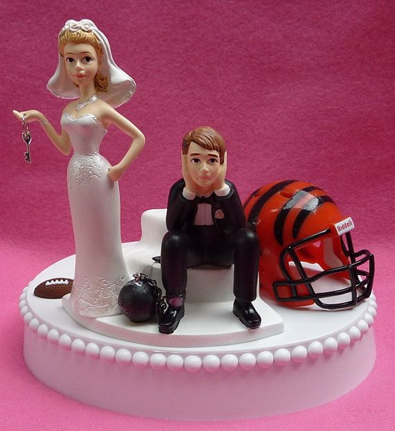 Wedding Cake Topper Cincinnati Bengals Football Themed Ball And Chain Key W Garter Sports Fan