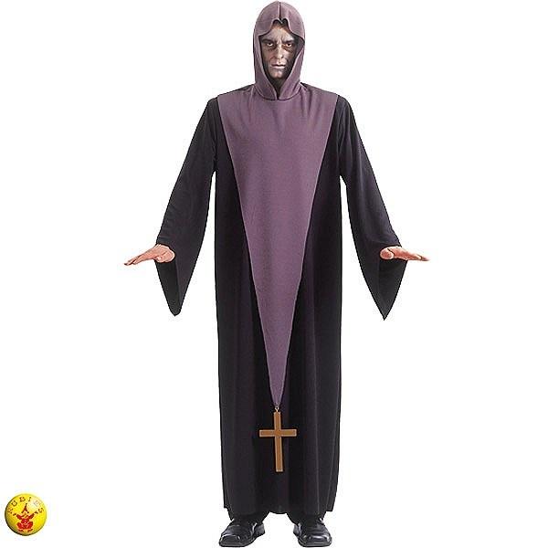 Disfraz de Exorcista: incluye una túnica morada con capucha y un crucifijo de tela #terror #miedo #disfraces #halloween
