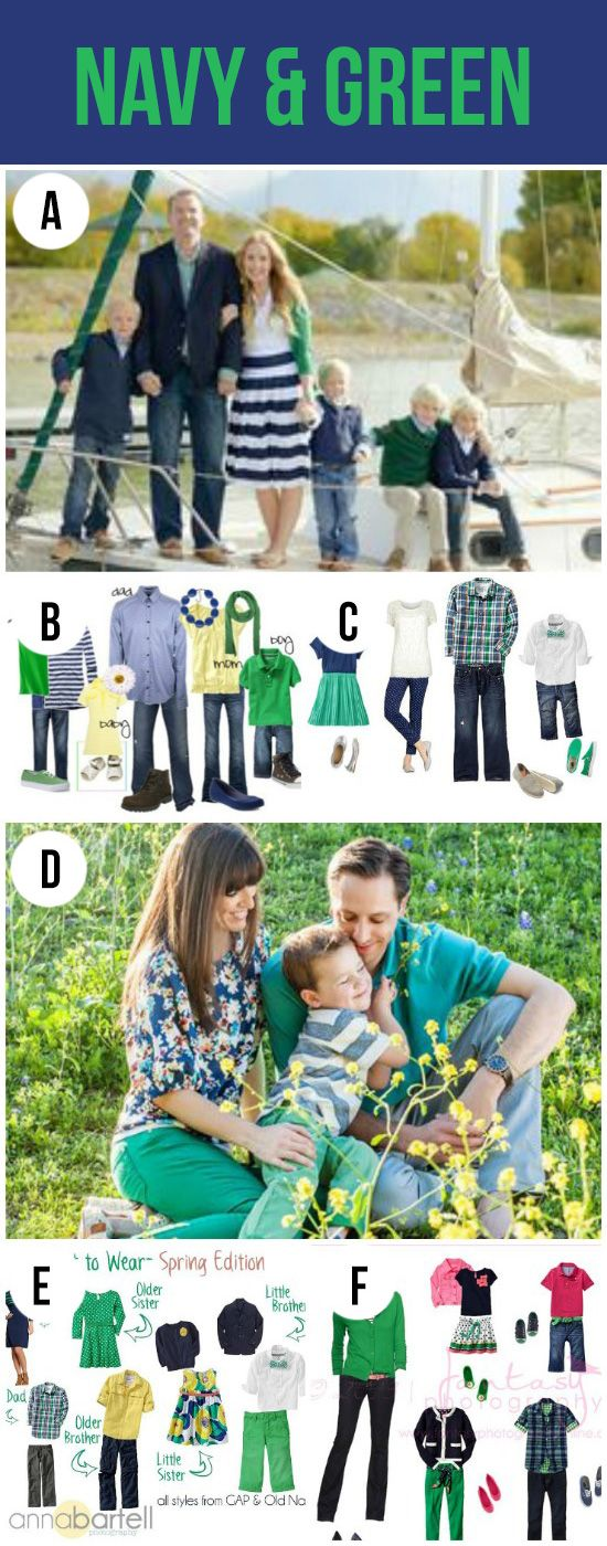 What to Wear for Family Pictures-Navy and Green.  Cute color palettes for pictures.