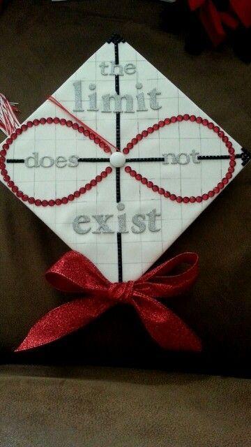 "Medium girl graduation cap. ""The limit does not exist"" math, calculus cap"