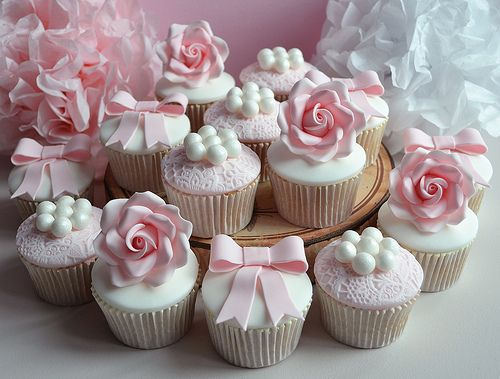 Vintage Christening cupcakes by Little Paper Cakes, via Flickr
