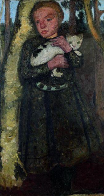 Painting by Paula Modersohn-Becker, ca. 1904, Mädchen im Birkenwald mit Katze (Girl in the birch forest with cat).