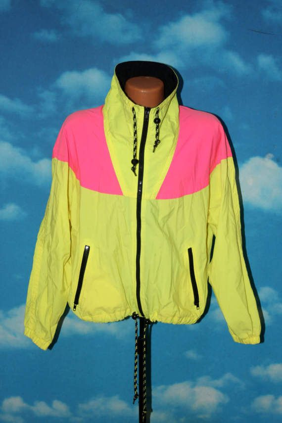 0b9c39ad7e Vuarnet France Neon Pink and Yellow Medium Windbreaker Jacket ...