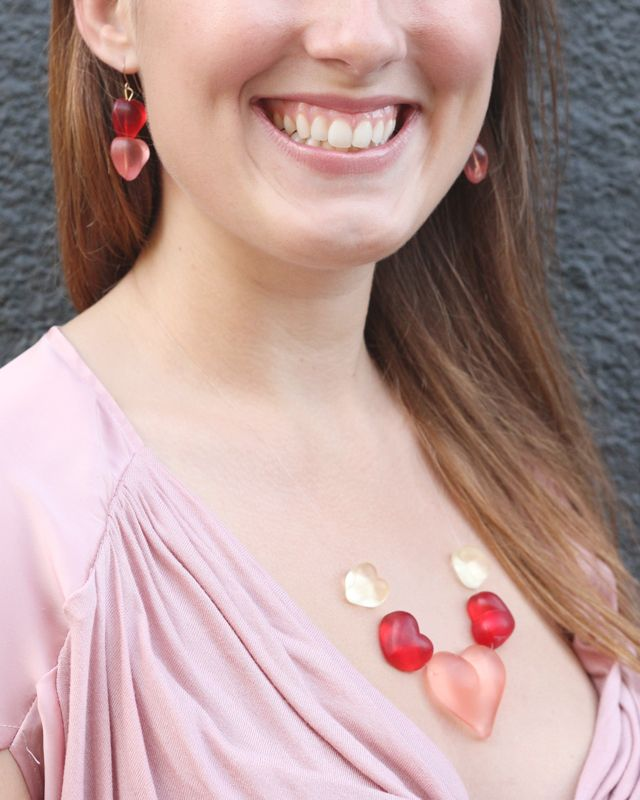 Sugarfina candy earrings and necklace created from Queen of Hearts