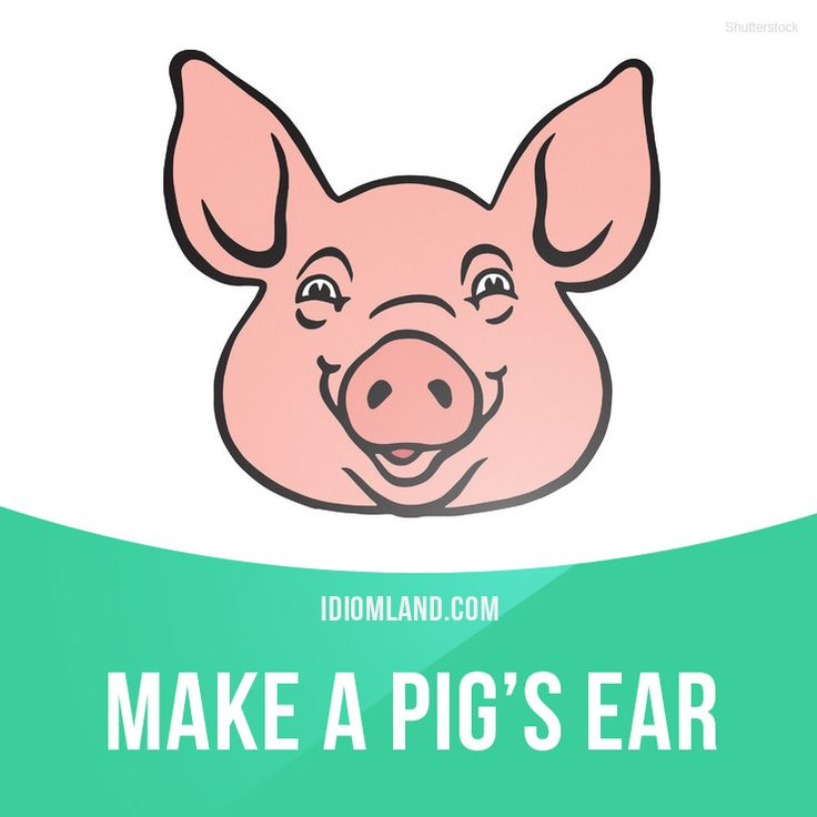 """Make a pig's ear of something"" means ""to do something badly"".  Example: He's made a pig's ear of that bookcase he was supposed to be making."