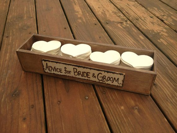 Rustic Wedding Advice Box for 50 Guests - Rustic Guestbook - Guest Notes Box - Advice for the Bride and Groom on Etsy, $50.00