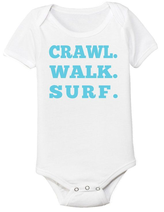 Crawl Walk Surf Baby Onesie Surfer Onesie by CleverFoxApparel
