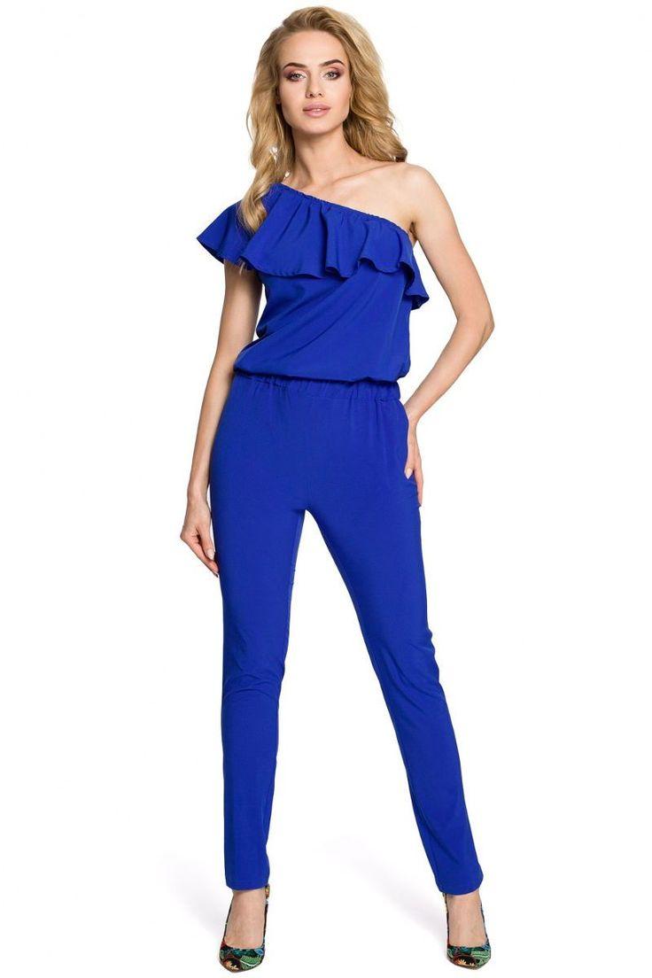 Ολόσωμη φόρμα με έναν ώμο και βολάν.95% Polyester 5% Spandex