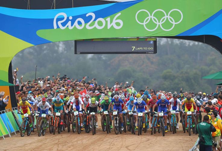 A general view at the start of the men's cross country mountain bike competition during the Rio 2016 Summer Olympic Games at Mountain Bike Centre.     -  Best images from Aug. 21 at the Rio Olympics