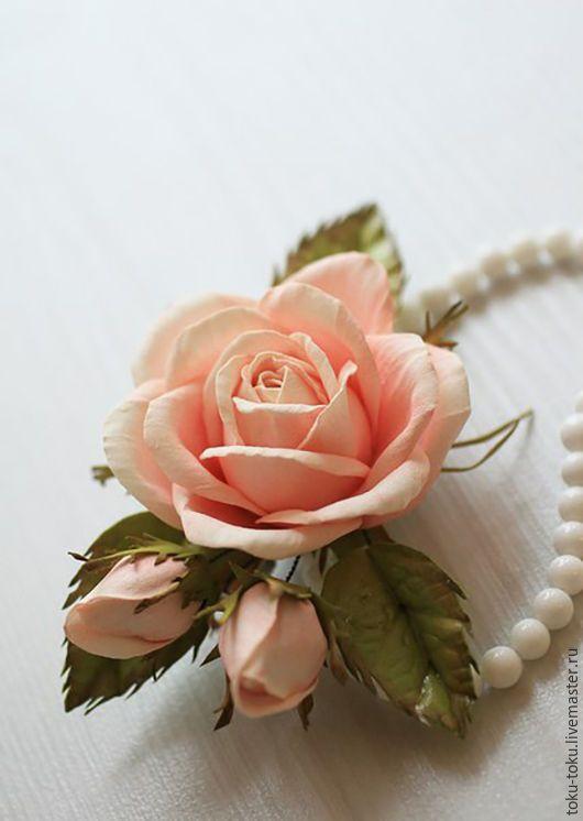Купить Зажимы с розами из фоамирана - кремовый, зажим, заколка, фоамиран, роза из фоамирана, цветы из фоамирана