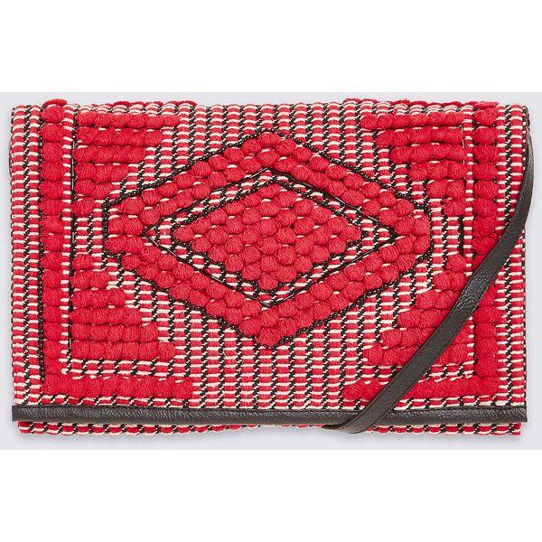 Aztec Shoulder Bag M&S ($32) ❤ liked on Polyvore featuring bags, handbags, shoulder bags, red purse, aztec purse, aztec shoulder bag, aztec handbags and aztec print handbags
