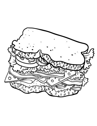 Printable sandwich coloring page. Free PDF download at ...