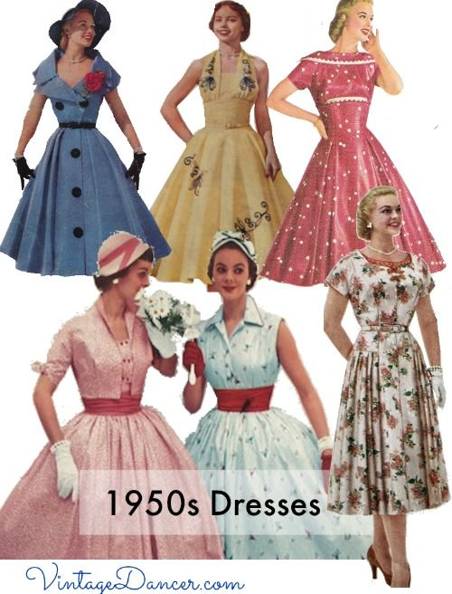 History of the 8 most popular 1950s dress styles. New Look swing dress, sheath dress, shirtwaist dress, coatdress, jumper dress, bell dress, chemise dressand trapeze dress. Which style is your favorite?
