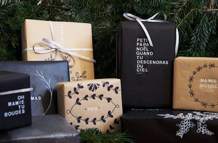 Black and white -christmas Mamie Boude paquets cadeaux déco