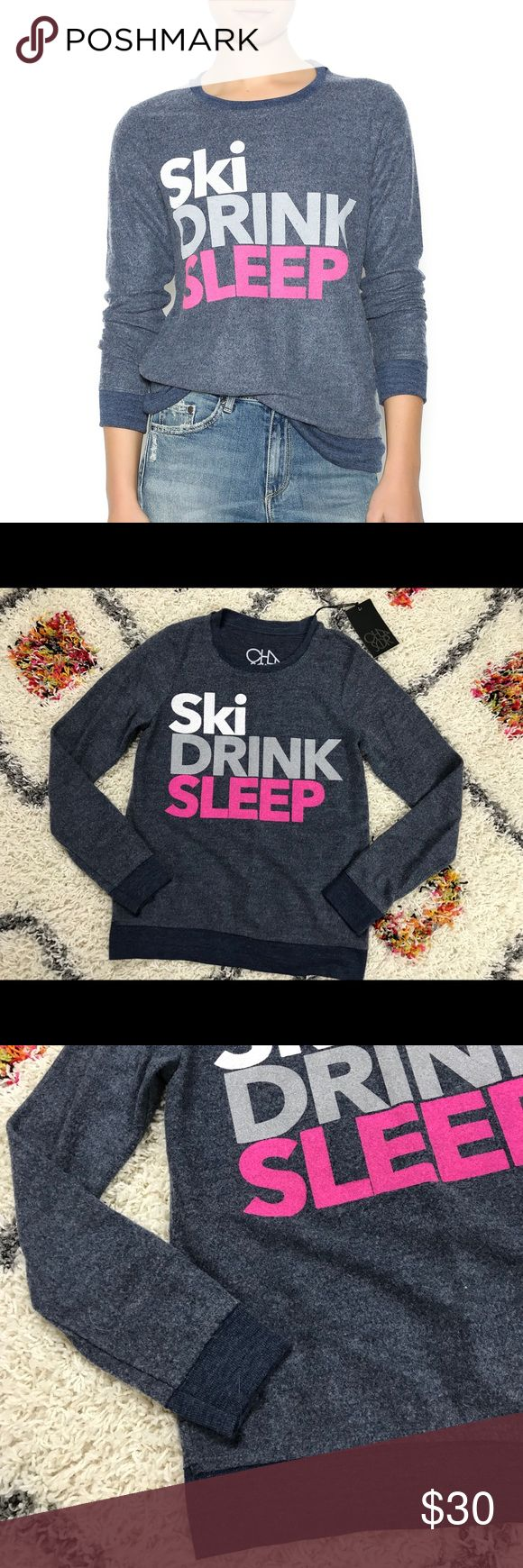 Chaser comfy ski drink sleep sweater sweatshirt XS Super cute and cozy chaser ski drink sleep graphic sweatshirt, size XS. NWT!! Sold at revolve clothing. Chaser Sweaters Crew & Scoop Necks
