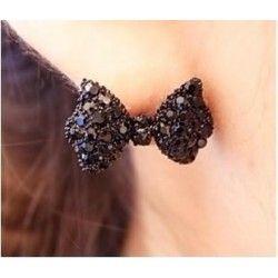 eenvoudige vintage metalen zwarte vlinder oorbellen