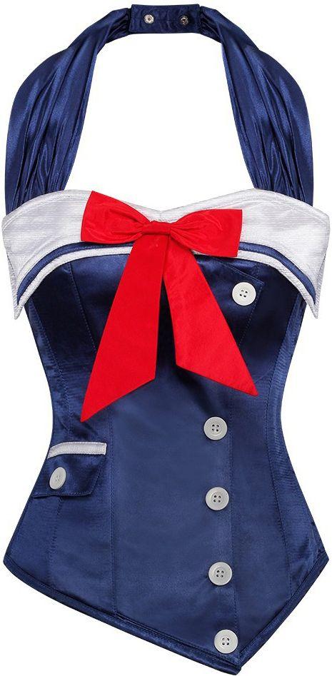 The Violet Vixen - Happy Sailor Halter Blue Corset, $96.00 (http://thevioletvixen.com/authentic-corsets/happy-sailor-halter-blue-corset/)
