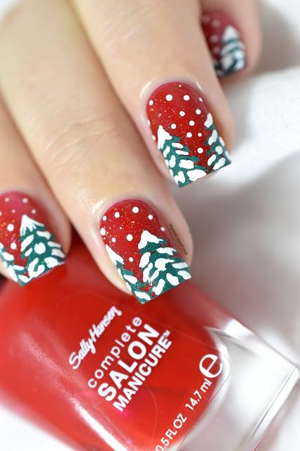 Sapins enneigés // Snowy firs   Giveaway! - winter nail art - festive nails - snow - sally hansen right said red - creative shop stmping 109