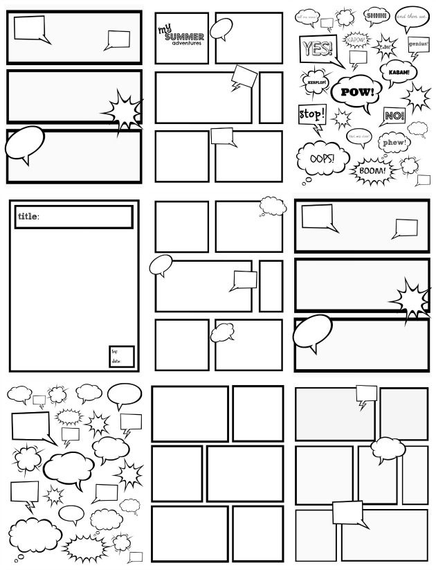 Free comic strip templates great for kids to color cut for Comic strip template maker