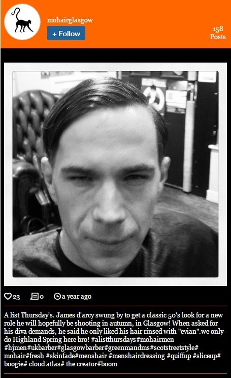 April 9, 2014 -- James went to get a '50s haircut in Glasgow..  Look at the last hashtag #TheCreator  -- http://www.yourmohair.com/#!instagram/c1x58