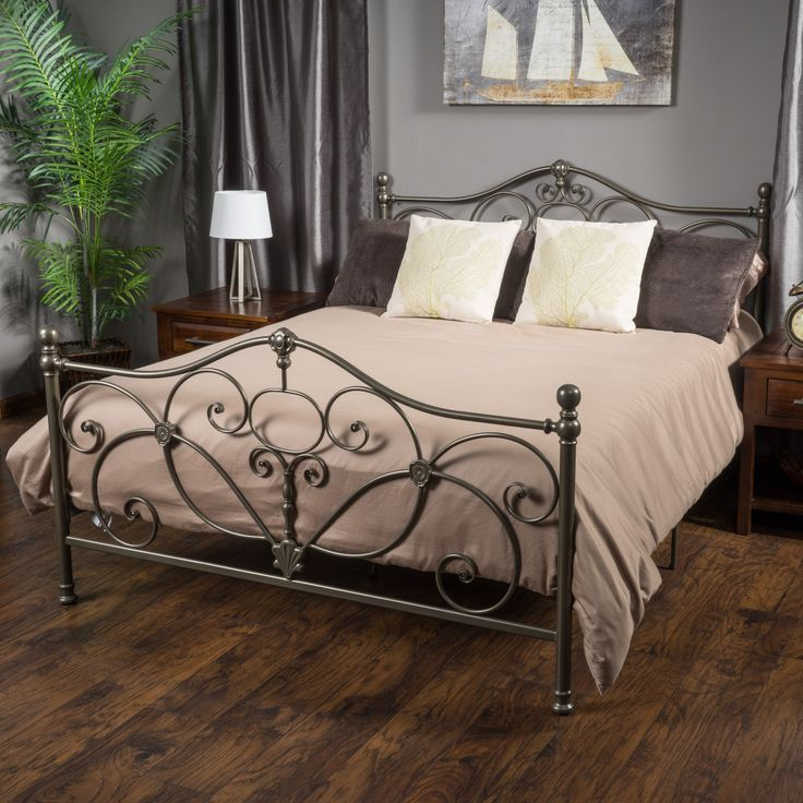 denise austin home san luis king champagne iron bed - King Size Metal Bed Frames