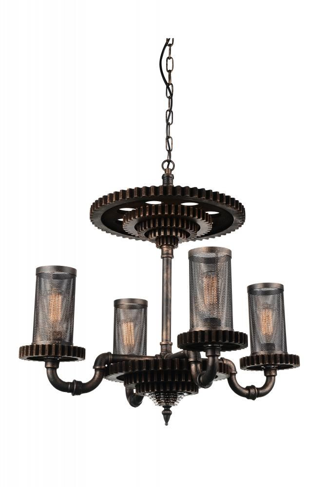 4 Light Rust Up Chandelier from our Manchi collection : 3066A2G | Richardson Lighting
