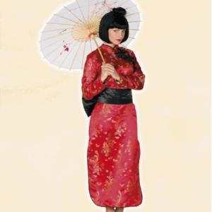 Deze luxe Japanse dames kostuum is een rode kimono met zwarte strikken, zwart centuur en een zwarte broek. Op www.shopwiki.nl #verkleden #thema #carnaval