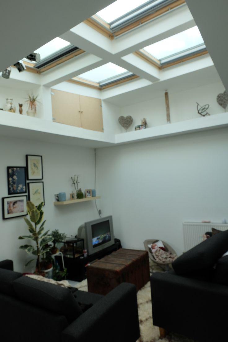 Ma maison / salon/ puis ou trou de lumière / velux / cadre / coffre ancien table basse / scandinave