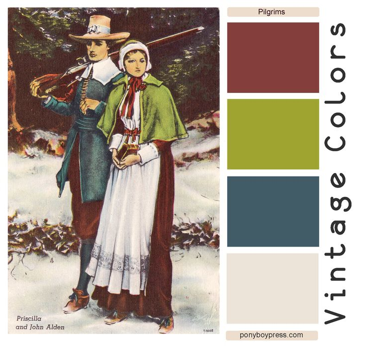 Unique Vintage 1940's colors. Find out more on the blog. Ponyboy Press: Vintage Color Palettes - Pilgrims