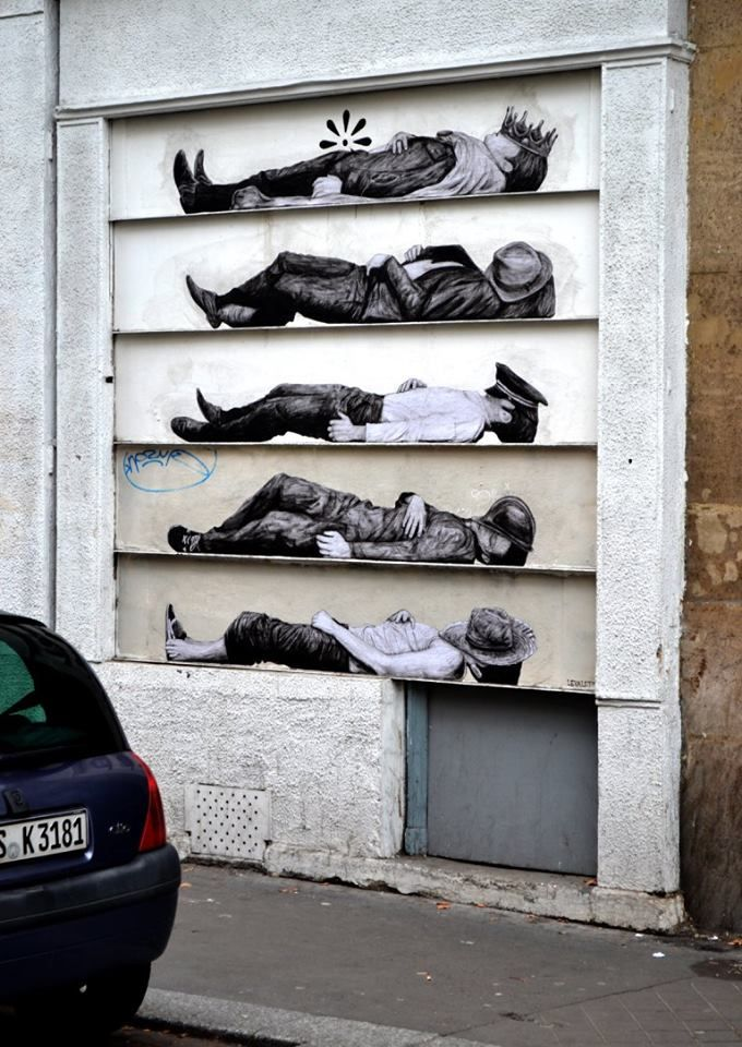 "by Levalet - ""L'ordre des choses (The order of things)"" - Paris, France - Sept 2015"