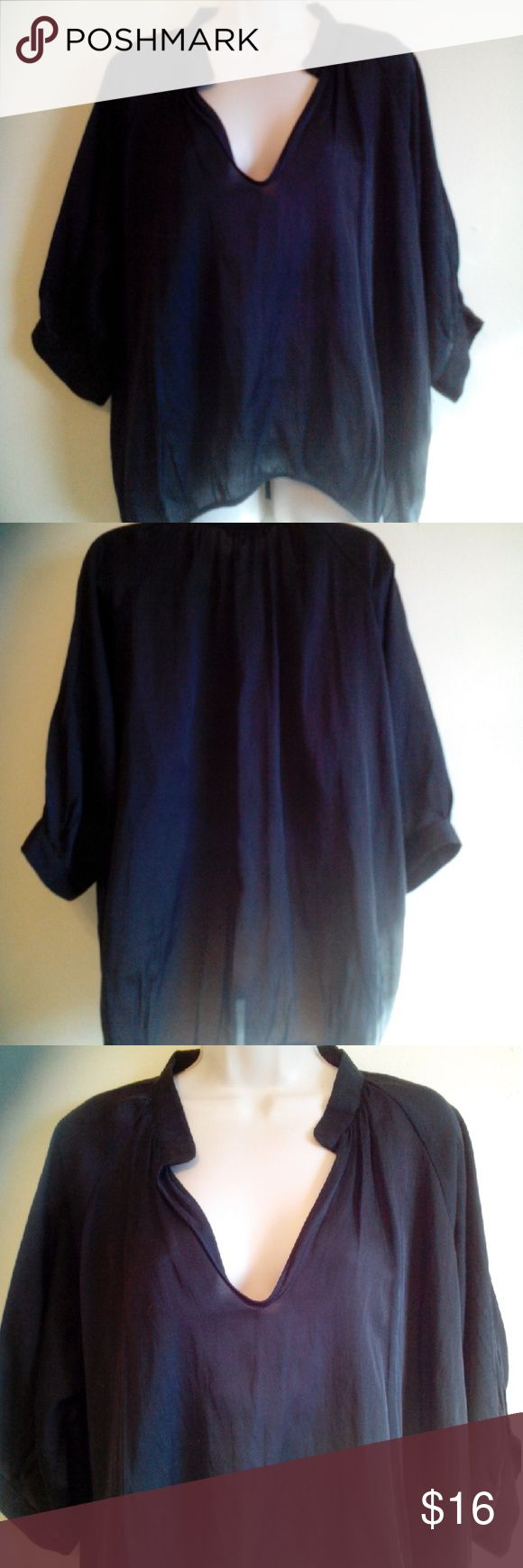 BCBGeneration top,m Black sheer blouse by BC generation, v neck ,polyester and cotton ,oversized BCBGeneration Tops Blouses