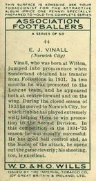 1935-36 W.D. & H.O. Wills Association Footballers #44 Jack Vinall  Back