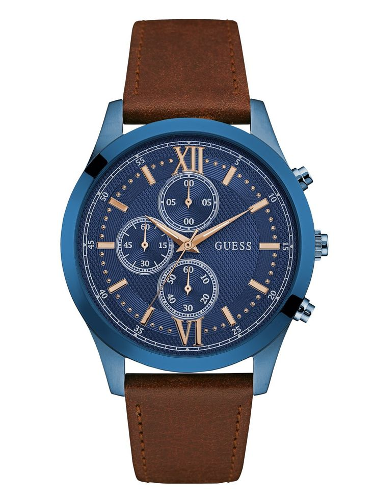 Brown and Blue Chronograph Watch