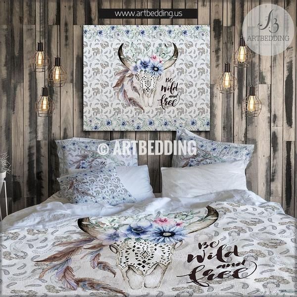 Buffalo skull totem bedding, Watercolor buffalo skull with  meadow flowers duvet bedding set, Spirit totem bedding, Vintage flowers skull bedroom decor