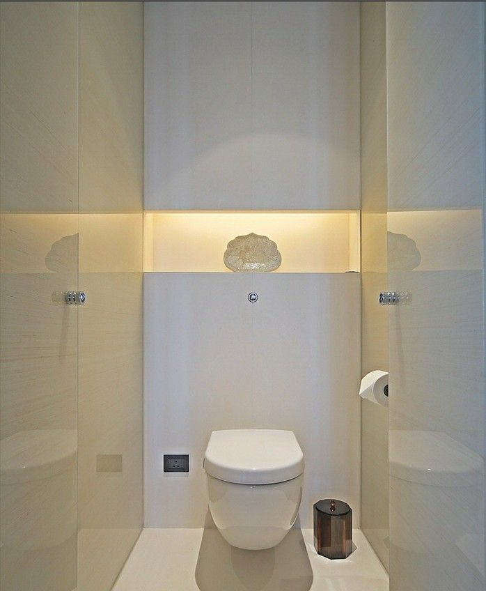 contemporary cloakroom (powder room) in pure white with fabulous lighting - Puli Hotel Shanghai