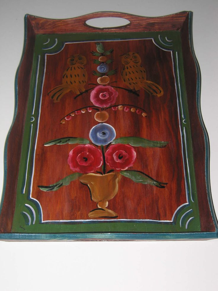 "Wooden painted ethnic folk service tray for breakfast  ""Siberian Owls"" by RussianStore on Etsy"