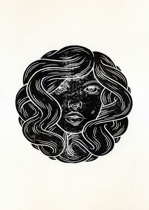 Her (Lino Print) by Mark Goss