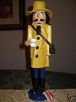 Vtg Wooden Nutcracker Seattle Rain Coat Coffee Cup Yellow