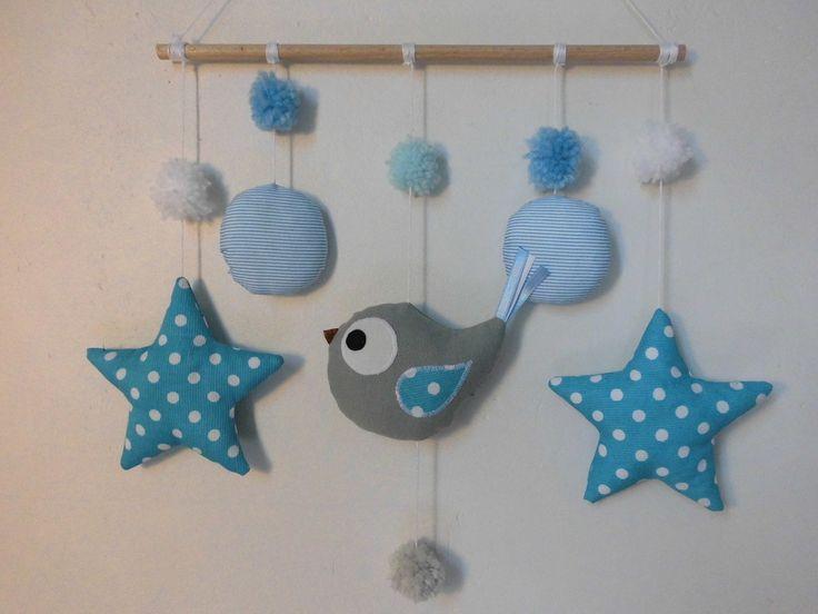 Mobile oiseau dans les étoiles - bleu blanc - mobile bébé