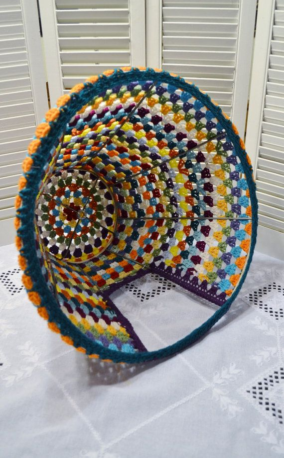 Crochet Cat Teepee Cave Pet Bed Upcycled Lampshade Frame