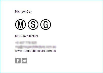 """This is Gold. Does what it says on the box and the templates are nice and crisp. I tried html signatures using some of the free stuff that is out there but it was useless. (I don't know anything about coding). Highly recommend"" - Michael Gay, MSG Architecture. Make your own email signature just like this one at www.emailsignaturerescue.com"