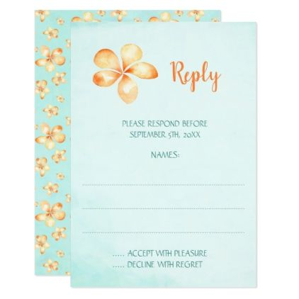 Island Plumeria Wedding Reply Cards - wedding invitations diy cyo special idea personalize card