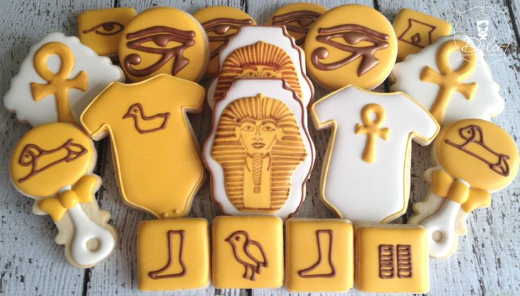 egyptian themed baby shower cookies