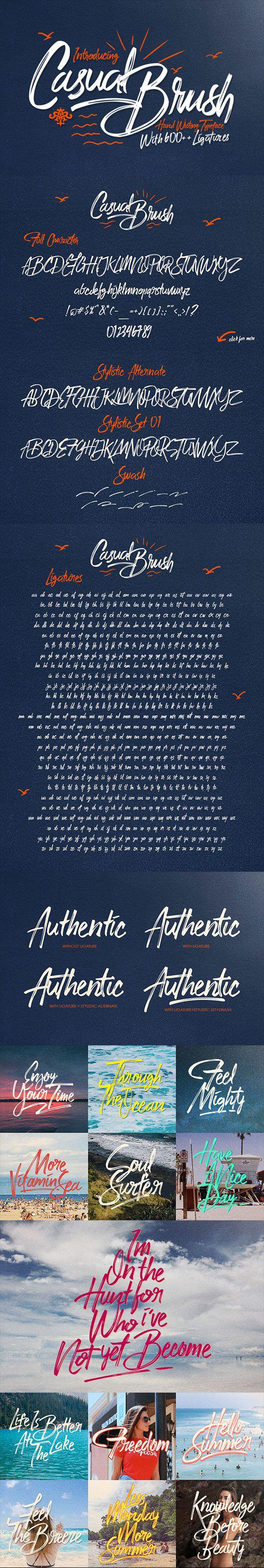 Casual Brush — TrueType TTF #handmade #swash • Available here → https://graphicriver.net/item/casual-brush/17424359?ref=pxcr