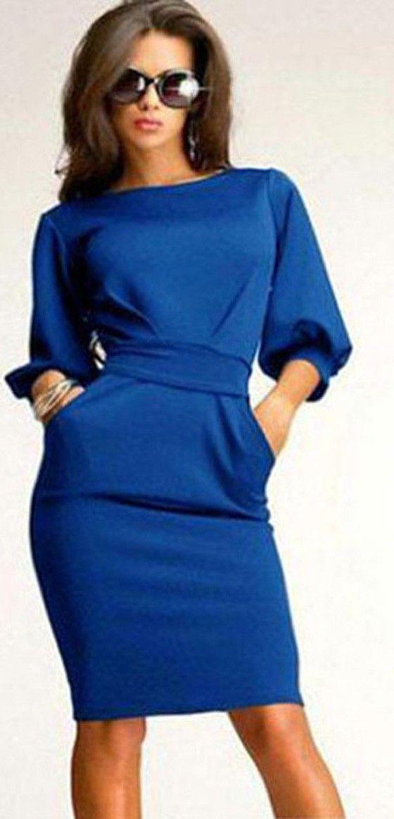 Royal Blue Belt Pleated Elbow Sleeve Slim Fashion Elegant Midi Dress