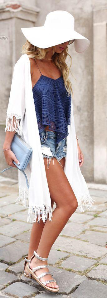 Blue Flowy Eyelet Cami by Zorannah. White Floppy hat, kimono, destroyed jean shorts, tank, and clutch!