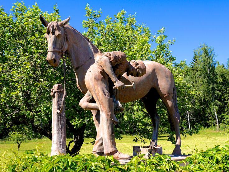 """""""Hesten og hovslageren"""" av Brynjulf Bergslien (1830 - 1898) Brusveen gård"""