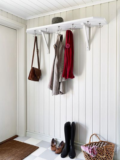 Swedish Coat Hooks And Red Tin Siding Tan Metal Roof