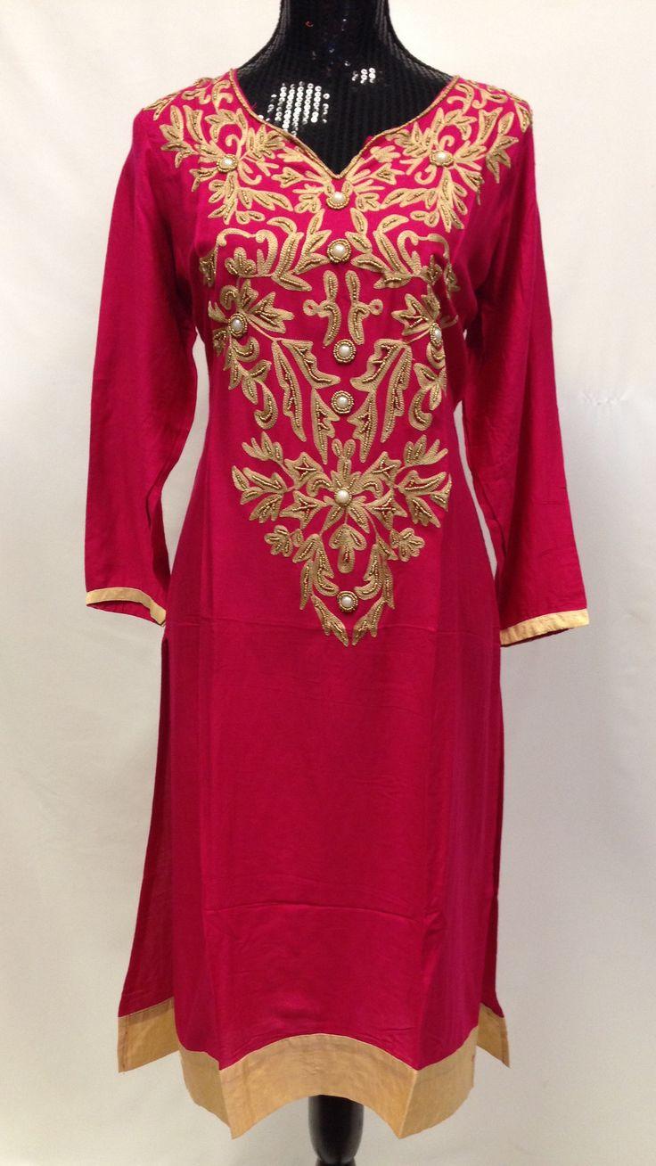 Rayon Embroidery Kurta - Pink